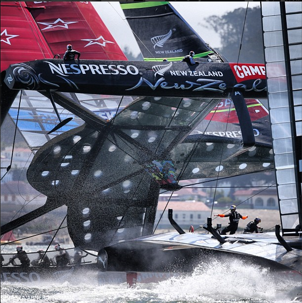 Emirates Team New Zealand's near capsize in Race 8 of the America's Cup © ACEA / PHOTO ABNER KINGMAN