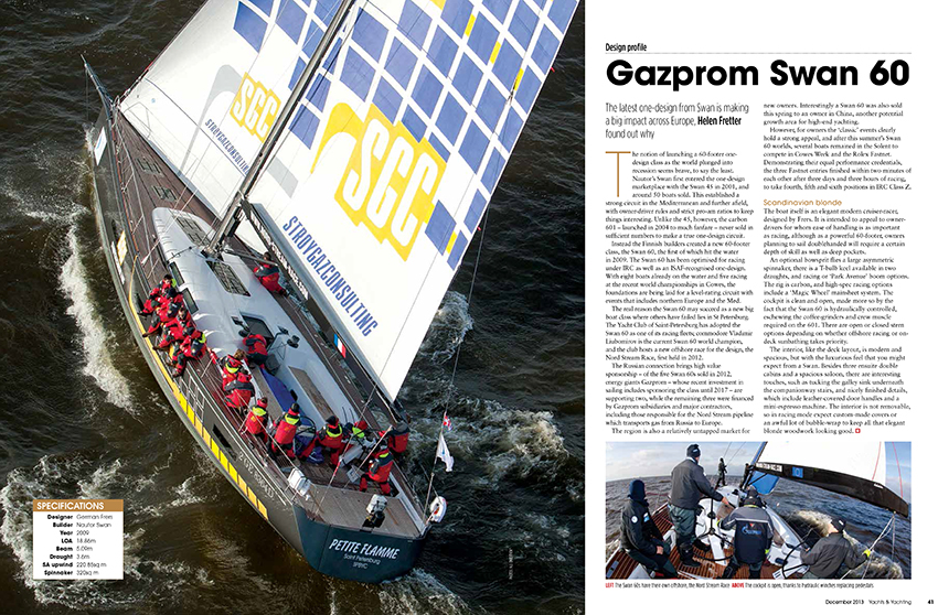 Gazprom Swan 60 design profile by Helen Fretter in Yachts & Yachting magazine, December 2013